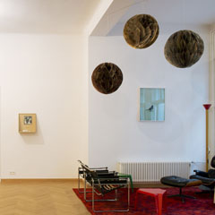 "Book launch & Exhibition: Manuel Gorkiewicz and Stefanie Seufert at ""Wiensowski & Harbord"" Berlin, 2016, from left to right: Stefanie Seufert: ""Towers Option #2, Atlas Grey, Just Yellow"", Photogram, each 180x35x35cm, 2016; Christian Egger: ""Untitled (I have not felteth creative before...)"",  ca. 165x100cm, ink on paper, 2016; Stefan Pathans: ""Items for Possible Video Sets #38"", 40x60cm, c-print, 2015; Untitled, 80 x 120 cm, c-print, 2011; Clegg & Guttmann with Martin Kippenberger: ""GF nicht vergessen"", 50,8x45,7x22,9cm, mixed media, 1990"