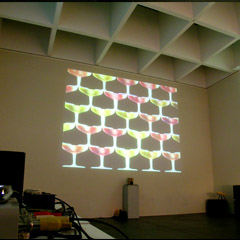 """Offspace, Ass Peep and Champagne"" with Anna Jermolaewa and Christian Mayer, Musterraum, Pinakothek der Moderne, München 2004"